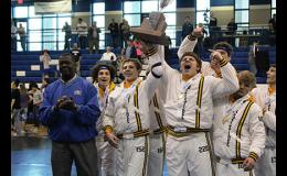 David Maholz, Alex Brown and the Eastside Wrestling team celebrated its third-straight state championship last week at Airport High School.