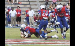 The Byrnes defense forced several turnovers last Friday night during its 21-6 victory over Greer. The two teams met during a scrimmage at the Byrnes Jamboree.