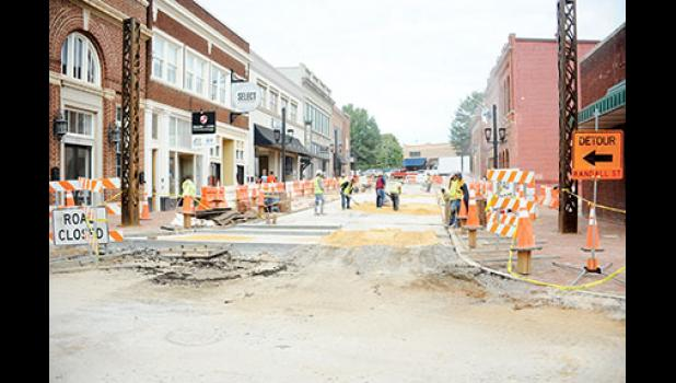Road construction on Trade Street is getting ready to wrap up for the holiday season.