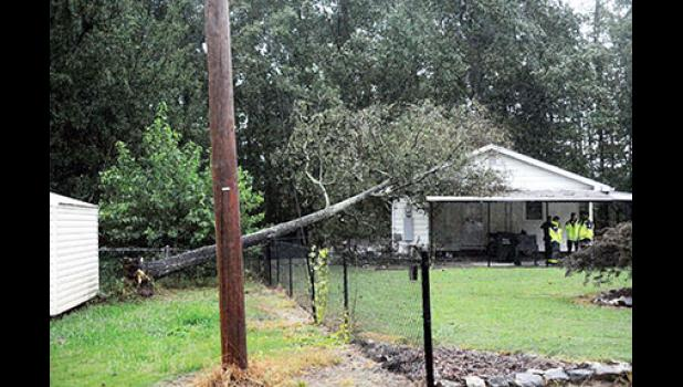 Wind gusts reaching nearly 50 mph moved through Greer Monday night and left more than 30,000 Greenville and Spartanburg County residents without power.
