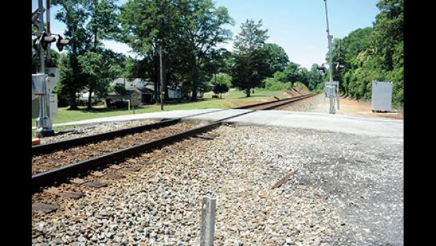A request has been submitted to make this railroad crossing at Locust Street a 'quiet' or 'no blow' zone.