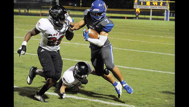 Max Louris rushed for four touchdowns during Eastside's win over Blue Ridge at home last Friday.
