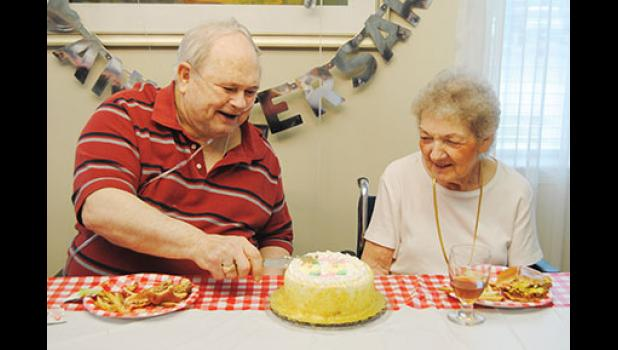 Jack and Patti Nance celebrated 60 years of marriage last week at Oakleaf Village Assisted Living in Greer, with lunch and cake provided by Wren Hospice.