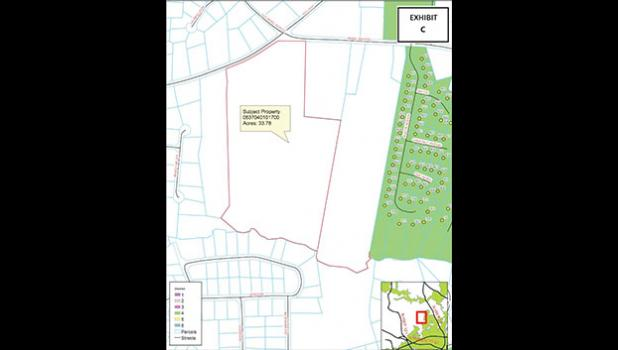 The red border outlines the property on Ansel School Road that council will consider for final approval of the annexation request next Tuesday night.
