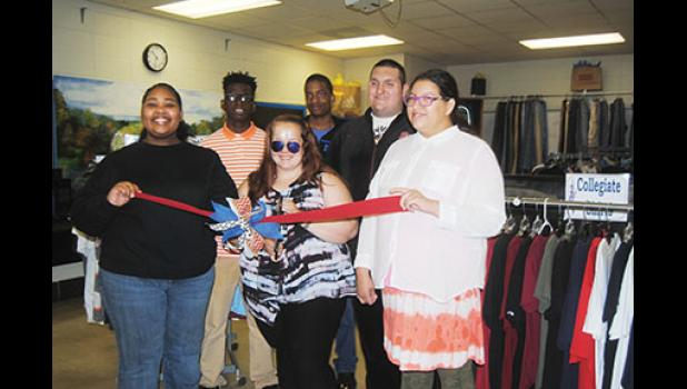 Career Preparation students celebrated the opening of Rebel Racks, the Byrnes resale shop for guys. Pictured, left to right, are: Sarah Mann, Jyqunn Flores, Daylin Smith, Khori Dowdle, Bradley Hammett and Victoria Smith.