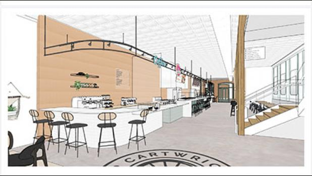 Cartwright Food Hall, which is under construction at 215 Trade Street, has added three new vendors for its projected spring opening.