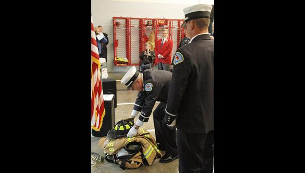 Firefighters at the Boiling Springs Fire District held a tribute service Monday morning, honoring those lost on Sept. 11, 2001.