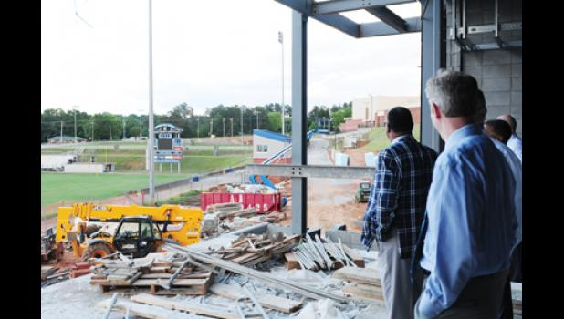 Members of the Spartanburg District Five school board toured the construction site at Byrnes High monday night, getting a first look at the new 100,000-square-foot facility.