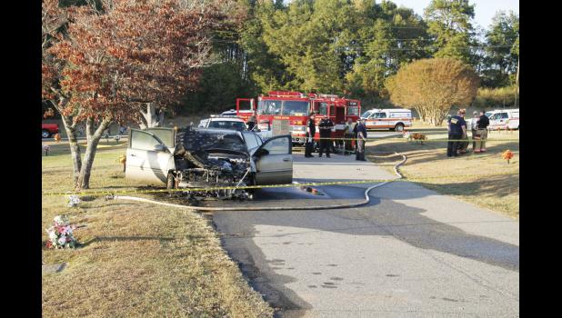 This car fire at Wood Memorial Park injured one man Monday evening in Greer.
