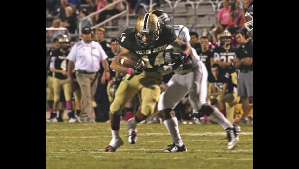 Xavier Wright caught a touchdown pass from Mario Cusano during the Jackets' blowout win over Berea.