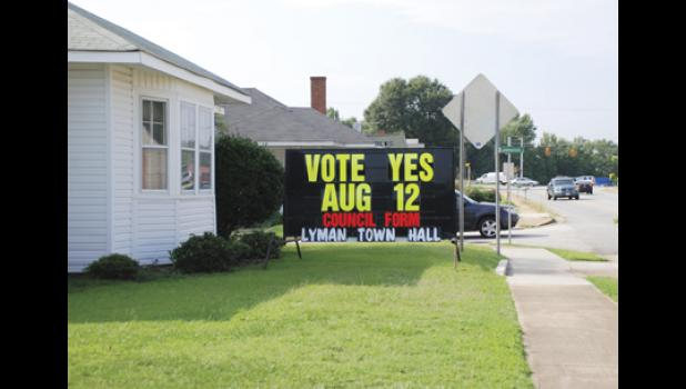 Lyman residents voted in favor of changing the town's form of government last week during a special election.