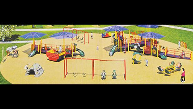 The Town of Lyman is purchasing this playground equipment, which is pictured with one of the two color options for surfacing.