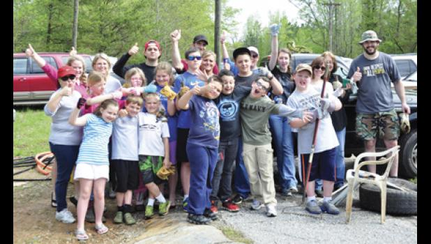 The Skyland Elementary chapter of the Upstate History Club got together to help clean up Berry's Mill last Saturday morning. The group, totaling nearly 25, picked up trash and brush from the area.