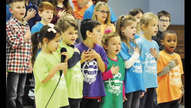 Students at Woodland Elementary led members of the community in the pledge of allegiance during last Thursday's Leadership Day.