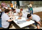 Visitors participated in a pie eating contest during Greer High Agricultural Department and FFA's first Agricultural Fair Day Saturday. Clark Phillips walked away the winner.