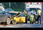 Three-car collision: Greer Police and Greenville County EMS workers responded to a three-vehicle crash at the intersection of Highway 29 and Memorial Drive last Tuesday.  The person pictured here was transported to the hospital with non life-threatening injuries.