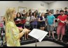 Blue Ridge High choral director Laura Morris leads a team of 30 sophomores, juniors and seniors in the first-ever summer boot camp in preparation for the 2014-15 school year.