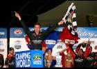 Ben Rhodes, driver of the #27 Safelite Auto Glass Toyota, celebrates in victory lane after winning the NASCAR Camping World Truck Series Las Vegas 350 at Las Vegas Motor Speedway on September 30, 2017 in Las Vegas, Nevada.