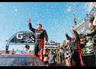 Ryan Newman, driver of the #31 Grainger Chevrolet, celebrates in victory lane after winning the Monster Energy NASCAR Cup Series Camping World 500 at Phoenix International Raceway on March 19 in Avondale, Arizona.