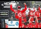 Kyle Larson, driver of the No. 42 Target Chevrolet, celebrates in Victory Lane after winning the Monster Energy NASCAR Cup Series Pure Michigan 400 at Michigan International Speedway on August 13, 2017 in Brooklyn, Michigan.