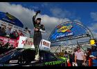 Ryan Blaney, driver of the #22 Fitzgerald Ford, celebrates in Victory Lane after winning the NASCAR XFINITY Series 'Use Your Melon. Drive Sober 200' at Dover International Speedway on September 30, 2017 in Dover, Delaware.