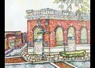 The artist depicted the corner of Poinsett Street and Trade Street in downtown Greer.