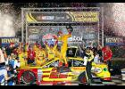 Joey Logano kept his team out front after taking the lead on a lap 438 restart and held on to win Saturday's Irwin Tools Night Race at Bristol Motor Speedway.