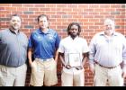 Riverside's Robert Morrow was named The Greer Citizen/Owens Insurance Offensive Player of the Week during Week 2. Pictured left to right are: Chad Hannon (Owens Insurance), Riverside coach Phil Smith, Morrow and Shane Lynn (Owens Insurance).