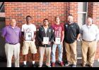 Three Greer High athletes were named The Greer Citizen/Owens Insurance Players of the Week during Week 6. Pictured left to right are: Chris Crist (Owens Insurance), Trey Houston (Offense), Noah Blosser (Lineman), Brodie Wright (Defense), Coach Will Young, and Shane Lynn (Owens Insurance).