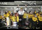 Brad Keselowski, driver of the No. 2 Detroit Genuine Parts Ford, celebrates in Victory Lane after winning the NASCAR Sprint Cup Series Coke Zero 400 Powered by Coca-Cola at Daytona International Speedway on July 2.