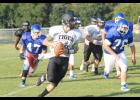 Jay Urich scrambles out of the pocket during a recent Blue Ridge scrimmage. Head coach Shane Clark said the sophomore quarterback will have an immediate impact.